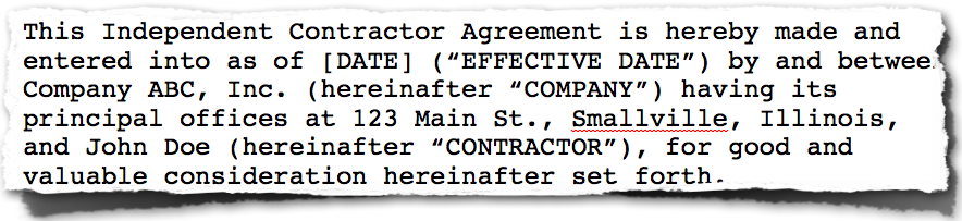 Bad Contractor Agreement