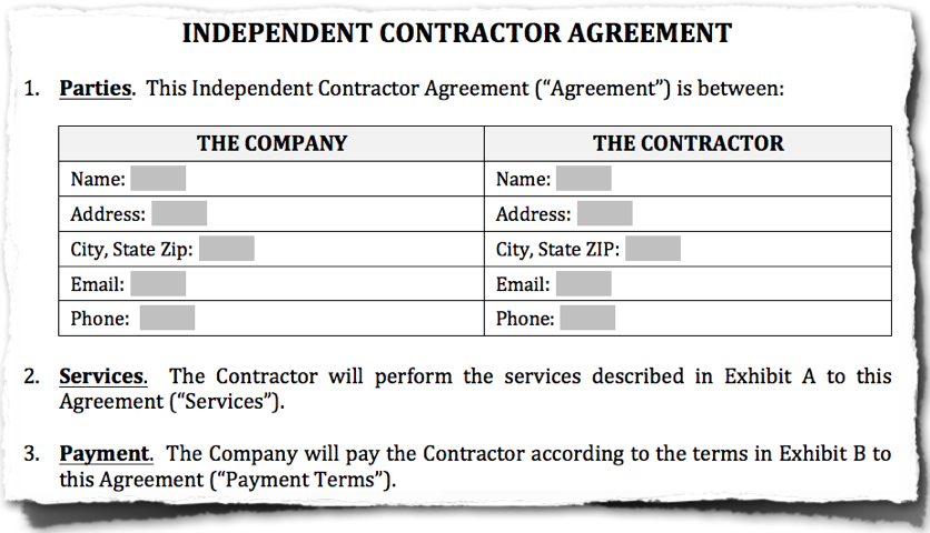 Independent Contractor Agreement – Independent Agreement Contract
